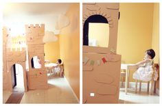 Storybook Princess Party - DIY Cardboard Castle..spent 4 dollars on it!, Flag Garland, Batting Material Clouds, Children's Party Idea @thebusybudgetingmama