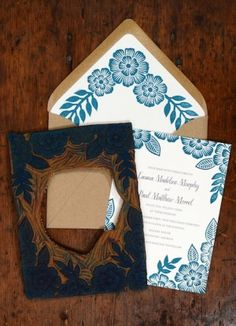 Oh So Beautiful Paper: Emma + Paul's Floral Block Printed Wedding Invitations
