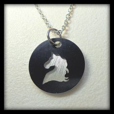 Horse Necklace, Horse Head, Horse Silhouette, Carousel, Aluminum, Hypoallergenic, Hand Crafted, Black, Silver, Chess, Knight by cherylscoinart on Etsy