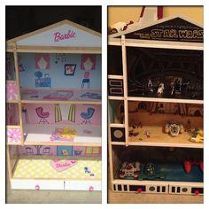 Transform a Barbie dollhouse into a favorite toy for boys.