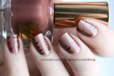 Feathered nail art using Estée Lauder French Nudes collection.