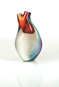 """Ventricle Vessel: This vase in the shape of a heart is custom-made by the Tsunami Glassworks.  A little morbid, but definitely a """"conversation piece."""""""