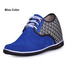 Blue Suede Leather casual style height increasing elevator Shoes 2.75inchs/7cm taller
