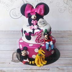 80BD. Tort Myszka Minnie, Miki, pies Pluto i Goofy. Disney cake with Mickey Mouse, Minnie, Pluto & Goofy toppers.