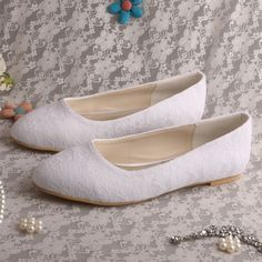 1f58e7279dcb Wedopus Women Wedding Shoes Pointed Toe White Lace Wedding Bridal Flats-in Women s  Flats from Shoes on Aliexpress.com