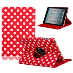 360 Degree Rotation PU Leather Case for iPad Mini Red Background White Dots