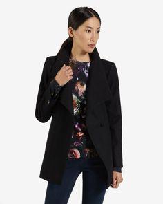 Short wool wrap coat - Black | Jackets & Coats | Ted Baker