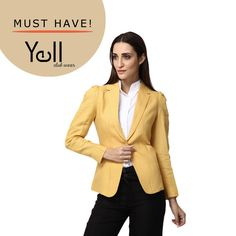 With the advancing chill in the weather, this Goldenish-yellow blazer is sure to provide the desired style and comfort!