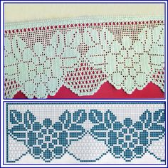 Risultati immagini per miria croches e pinturas Crochet Lace Edging, Crochet Borders, Love Crochet, Crochet Patterns, Filet Crochet Charts, Fillet Crochet, Crochet Curtains, Crochet Purses, Loom Beading