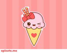 kawaii Strawberry ice cream by Tribrush.deviantart.com on @DeviantArt