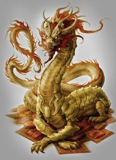 "artsfantasia: "" Sovereign Dragon by Jason Engle (A World of Fantasy) "" Mythical Creatures Art, Mythological Creatures, Magical Creatures, Fantasy Creatures, Cool Dragons, Dragon's Lair, Gold Dragon, Yellow Dragon, Dragon Artwork"