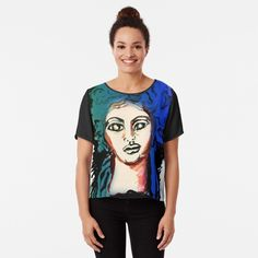 'Woman Silhouette' Chiffon Top by Artemix Woman Silhouette, Apparel Design, Chiffon Tops, Fit Women, Fitness Models, Printed, Awesome, People, Sleeves