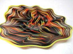 Hand Blown Glass Art Platter Bowl Wall Hanging 89 New Lava | eBay