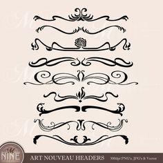 ART NOUVEAU HEADERS Clip Art: Digital Clipart, Instant Download, Vintage Design Elements Antique Borders Dividers Clip Art Black Silhouette