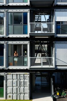 Cité A Docks student housing project constructed with intermodal shipping containers. Located in Le Havre, France, by Cattani Architects
