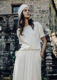 Robes de mariée - Laure de Sagazan - Collection 2017   Modèle : Top Péguy, jupe Flamant & turban Simone   Photographe : Laurent Nivalle   Donne-moi ta main - Blog mariage