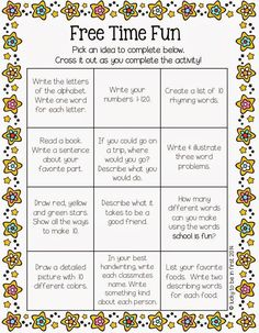 Do you ever have early finishers? Well, snag Free Time Fun below to keep in your students' desks. They simply pull it out when they have a few free moments! 2nd Grade Classroom, Classroom Fun, Classroom Activities, Future Classroom, Anchor Activities, Enrichment Activities, Time Activities, Writing Activities, Classroom Organisation