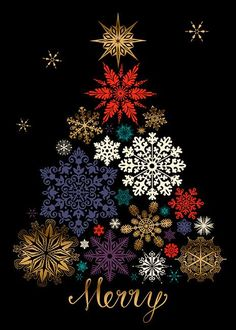Margaret Berg Art: Black & Gold Snowflakes Tree