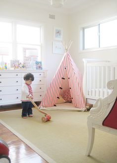 The newest accessory for your already perfect nursery? A tipi of course! Casa Kids, Tent Design, Floor Design, Cool Tents, Playroom Design, Playroom Ideas, Kid Spaces, Kids Decor, Boy Room