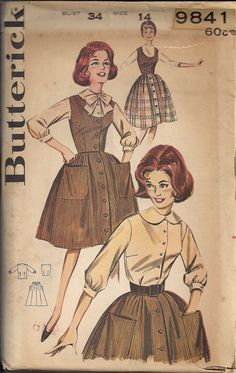 60s Vintage UNCUT Sewing Pattern JUMPER Dress and BLOUSE with Oversize Peter Pan Collar by HoneymoonBus, $12.99