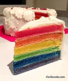 Aujourd'hui une recette digne d'un anniversaire d'enfant : le Rainbow Cake. De la couleur ! On veut que ça soit guai et que ça en jette plein les yeux. L'idée de réaliser ce gâteau multicolore m'amusait...