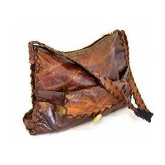 Vintage 1960s handmade leather handbag, One size, Brown, Womens