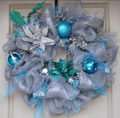 Christmas •~• blue & silver ribbon wreath