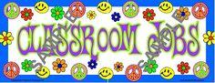 groovy themed classroom - website has retro themed items