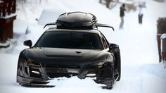 Audi R8 with skibox  http://www.autorevue.at/aktuelles/wedeln-in-schweden-john-olssons-audi-r8.html