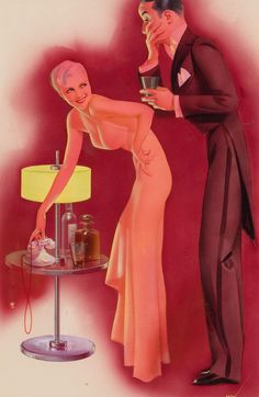 Pin-Up with Gentleman, Esquire magazine illustration, September 1934