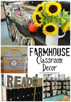 Farmhouse Style Classroom Decor: Burlap and Galvanized metal