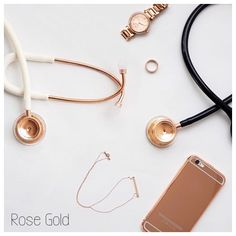 Rose gold stethoscopes  black / white . Medical Students, Medical School, Nursing Students, Physician Assistant School, Medical Assistant, Rose Gold Stethoscope, Medical Wallpaper, Nursing Accessories, Medical Gifts