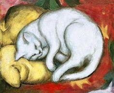Franz Marc - Kater auf gelbem Kissen