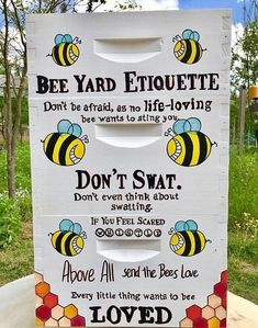 Bee Yard Etiquette: Don't be afraid, as no life-loving bee wants to sting you. Don't even think about swatting. If you feel scared, whistle. Above all, send the bees love. Every little thing wants to be LOVED! Bee Hive Plans, Beekeeping For Beginners, Beekeeping Equipment, Feeling Scared, Raising Bees, Bee Boxes, Bee Hives Boxes, Bee Farm, Backyard Beekeeping
