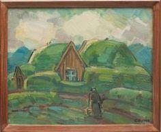 Guðmundur Einarsson frá Miðdal (1895-1963)  Við bæjartraðirnar Olía - Merkt. 45 x 55 cm - Merkt Verðmat: 80.000 - 100.000 (2015)