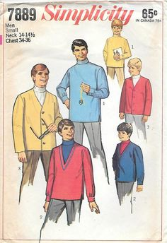 cbc2e3e5a290 Simplicity 7889 UNCUT 1960s Mens Mod Turtlenck Shirt and Cardigan Vintage  Sewing Pattern Chest 34-36 Rock n Roll costume
