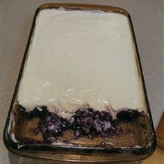 i think this is the jello my grandma used to make that i loved, minus the pineapple. sounds gross, but (if it's the same, it was really good!    Blueberry Gelatin Salad Allrecipes.com