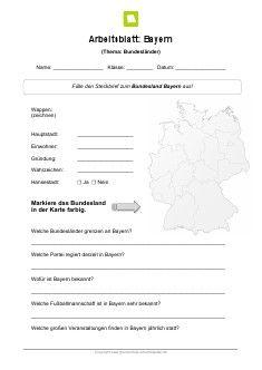 Kostenloses Arbeitsblatt: Bundesland Bayern                                                                                                                                                                                 Mehr