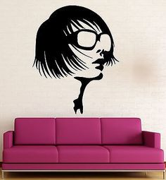 Vinyl Decal Beauty Salon Wall Sticker Sexy Girl in Sunglasses Fashion Style Spa Decor (ig565)