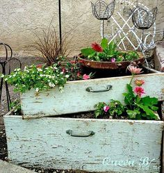 Planters made from old drawers