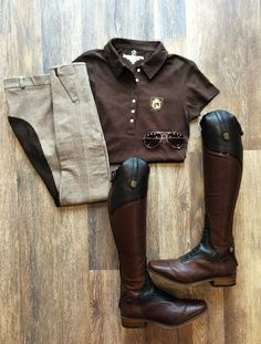 Women's Equestrian Short Sleeve Brown Riding Polo by Equestrianista - Best Equitation Horse Women's Equestrian, Equestrian Outfits, Equestrian Fashion, Horse Fashion, Horse Riding Fashion, Riding Hats, Riding Helmets, Riding Clothes, Riding Gear