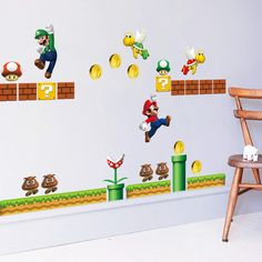 Removable 3D New Pattern Cartoon PVC Super Mario Bros Wall Sticker For Kids Room Bedroom Home Decals Wallpaper Sticker Mural-lyf #Affiliate