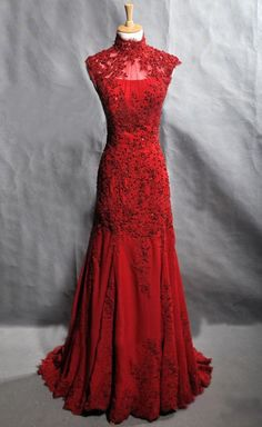 Red Traditional Lace Chinese wedding dress,Red prom dress,Long evening dress,High neck bridal gown, Etsy