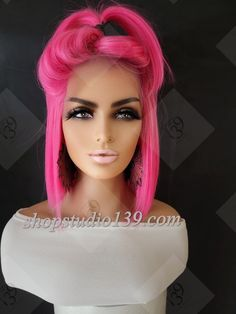 Blonde Bob Wig, Blonde Bobs, Pink Lace, Lace Front Wigs, Bob Hairstyles, Hot Pink, Hair Styles, Color, Hair Plait Styles