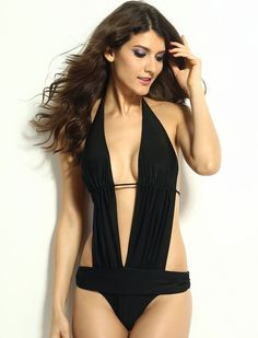 Plunging Neck Black Monokini Swimsuit