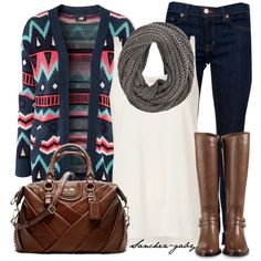 """H&M Cardigan"" by sanchez-gaby on Polyvore. The cardigan's ok but LUV the bag!"