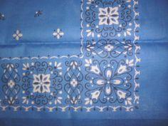 NEW Vintage Blue BANDANA Tulips Floral Cotton Handkerchief FAST COLOR USA 1950s #Unbranded #WesternBandana