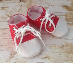 Red and White Baby Tennis Shoes  Newborn size up to 18 by 2Fab