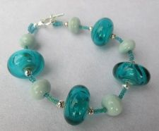 Teal Green Glass 'Bead within a Bead' Bracelet