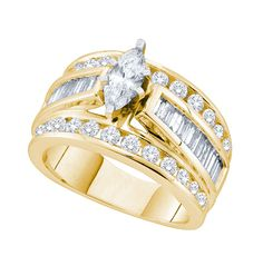Center Marquise Diamond 0.25ct Baugette And Round Diamonds Bridal Ring (1.00ct. tw)- 40452394